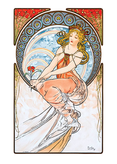 Alphonse Mucha Art Print, Rainbow Goddess Czech artist Alphonse Mucha's Art Nouveau style makes for perfectly lovely blank cards and art prints. These prints are made at our location in Seattle, WA. They have a thick, white backing board and are sealed in clear bags. Each is suitable for framing at 11 inches x 14 inches or can be used as is for wall display. Our goal is to bring back to life these wonderful illustrations from old-fashioned, children's books and from early advertising art.