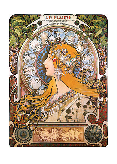 Alphonse Mucha Greeting Card, The Zodiac Queen  Czech artist Alphonse Mucha's Art Nouveau style makes for perfectly lovely blank cards and art prints.    Our blank notecards are custom printed at our location in Seattle, WA. They come bagged with an envelope. We love illustration art from old children's books and early, printed ephemera. These cards reflect this interest in bringing delightful art back to life.