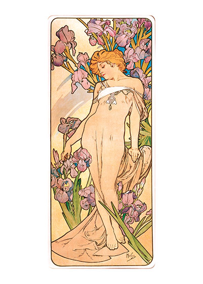 Alphonse Mucha Greeting Card, Lady Iris  Czech artist Alphonse Mucha's Art Nouveau style makes for perfectly lovely blank cards and art prints.    Our blank notecards are custom printed at our location in Seattle, WA. They come bagged with an envelope. We love illustration art from old children's books and early, printed ephemera. These cards reflect this interest in bringing delightful art back to life.