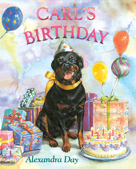 Carl's Birthday (Signed) Everyone's favorite Rottweiler is back in top form. Carl's family has planned a surprise party for him and as last-minute preparations take shape, Carl and baby Madeleine are sent to take their naps at a neighbor's. Naturally Carl sneaks back into the house with Madeleine in tow, inspects most of the presents (and hides a package containing dog shampoo), adds sugar to the punch and samples the cake and so forth, all the while covering his tracks. Carl and Madeleine conspire sweetly, and their maneuvers are more affectionate that naughty.  The realistic illustrations provide lots of action, adventure and suspense as Carl and baby narrowly avoid disaster. - (Los Angeles Times)  THIS BOOK IS SIGNED BY ALEXANDRA DAY & WITH A STAMP-PRINT OF THE REAL CARL'S PAW.