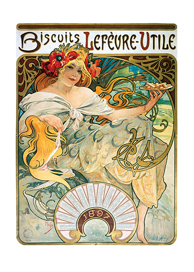 Alphonse Mucha Greeting Card, Biscuits Lefevre  Czech artist Alphonse Mucha's Art Nouveau style makes for perfectly lovely blank cards and art prints.    Our blank notecards are custom printed at our location in Seattle, WA. They come bagged with an envelope. We love illustration art from old children's books and early, printed ephemera. These cards reflect this interest in bringing delightful art back to life.