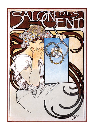 Alphonse Mucha Greeting Card, Salon des Cent  Czech artist Alphonse Mucha's Art Nouveau style makes for perfectly lovely blank cards and art prints.    Our blank notecards are custom printed at our location in Seattle, WA. They come bagged with an envelope. We love illustration art from old children's books and early, printed ephemera. These cards reflect this interest in bringing delightful art back to life.