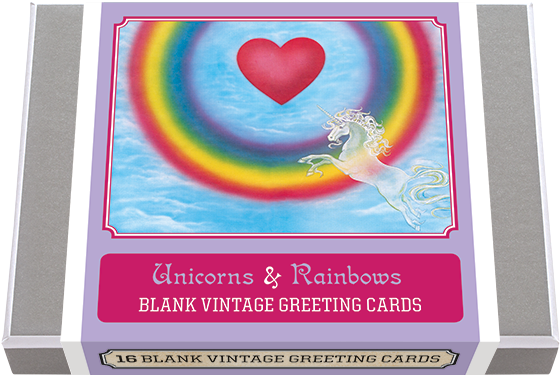 Unicorns and Rainbows! - Blank Greeting Cards | Animals Greeting Cards 8 classic Vintage Unicorns and 8 classic vintage Rainbow illustrations featuring Unicorns Riding Rainbows, Rainbows Encircling Unicorns, and much more... 16 cards - 2 each of 8 designs  Made in America with high quality paper, envelopes and packaged in a deluxe, keepsake box.