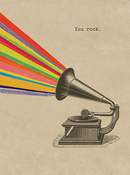 Rainbow Gramaphone | Encouragement Greeting Cards