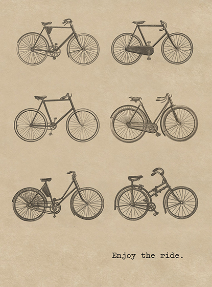 Six Bicycles  OUTSIDE GREETING: Enjoy the ride.   BLANK INSIDE Numerous vintage bicycles delight on this Encouragement greeting card from Cory Steffen.  Our greeting cards are custom printed at our location in Seattle, WA. They come bagged with an envelope. We love illustration art from old children's books and early, printed ephemera. These cards reflect this interest in bringing delightful art back to life.