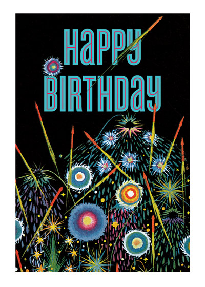 Fireworks | Birthday Greeting Cards Fireworks light up the night sky in this Elizabeth Cadie illustrated Happy Birthday greeting card from Laughing Elephant Outside: Happy Birthday Inside: May All Your Wishes Come True