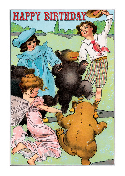 Children Dancing with Bears and a Fairy  OUTSIDE GREETING: Happy Birthday   INSIDE GREETING: and Many Happy Returns of the Day!  Children dance joyously with Bears and a fairy in this Fanny Cory Happy Birthday greeting card from Laughing Elephant.  Our greeting cards are custom printed at our location in Seattle, WA. They come bagged with an envelope. We love illustration art from old children's books and early, printed ephemera. These cards reflect this interest in bringing delightful art back to life.