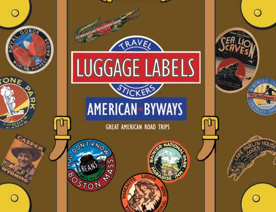 American Byways  Travel Labels This box of 20 individual peel and stick luggage labels are suitable for scrapbooking, decoupage, gift wrapping and, of course the adornment of old trunks and luggage. The labels in this selection allow you to pretend you are on an auto trip around a bygone America, stopping at all the interesting tourist attractions as you go. First, a Maine fishing lodge, then the world's largest alligator farm, then the overseas highway to Key West, then west to Yellowstone, Pike's Peak, Death Valley, the Soboba Mineral Hot Springs, and glorious Mt. Rainier.