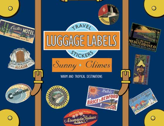 Sunny Climes Travel Labels | Travel Stickers This box of 20 individual peel and stick luggage labels are suitable for scrapbooking, decoupage, gift wrapping and, of course the adornment of old trunks and luggage. This group of labels features a variety of locales including: Miami, Rio, Tunisia, Java, Acapulco, Tenerife, Cairo, Trinidad, Ghana, Haiti, and Manila. People who live in places with a severe winter love to travel where the sun always shines. Hotels in warm destinations strive to fulfill this love by featuring beaches, swimming pools, large windows and balconies.