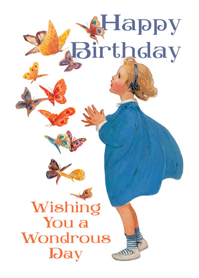 Girl with Butterflies The Wonder of Butterflies!   OUTSIDE GREETING: Happy Birthday Wishing You a Wondrous Day  BLANK INSIDE\N\NA girl marvels at butterflies in this Jessie Willcox Smith Happy Birthday greeting card from Laughing Elephant.  Our greeting cards are custom printed at our location in Seattle, WA. They come bagged with an envelope. We love illustration art from old children's books and early, printed ephemera. These cards reflect this interest in bringing delightful art back to life.