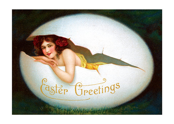 Smiling Woman in Egg   OUTSIDE GREETING: Easter Greetings   BLANK INSIDE  A woman smiles at us from an egg in this vintage postcard Easter greeting card from Laughing Elephant