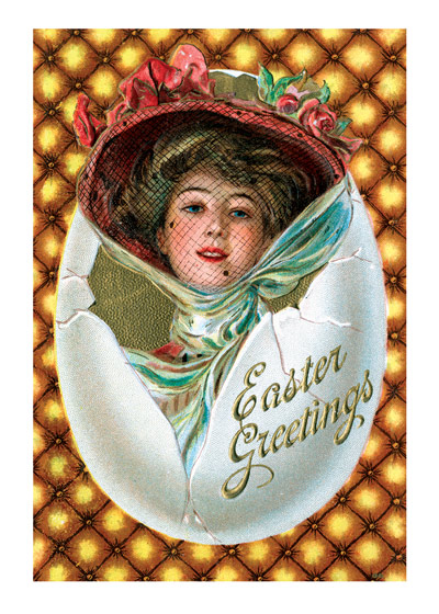 Woman with Hat in Egg    OUTSIDE GREETING: Easter Greetings   BLANK INSIDE   A woman in a hat smiles at us from an egg in this vintage postcard Easter greeting card from Laughing Elephant.  Our greeting cards are custom printed at our location in Seattle, WA. They come bagged with an envelope. We love illustration art from old children's books and early, printed ephemera. These cards reflect this interest in bringing delightful art back to life.