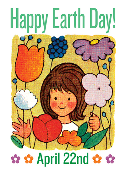 Smiling Girl with Flowers  OUTSIDE GREETING: Happy Earth Day - April 22nd  BLANK INSIDE  A girl smiles at us from amongst flowers in this Earth Day greeting card from Laughing Elephant.  Our greeting cards are custom printed at our location in Seattle, WA. They come bagged with an envelope. We love illustration art from old children's books and early, printed ephemera. These cards reflect this interest in bringing delightful art back to life.