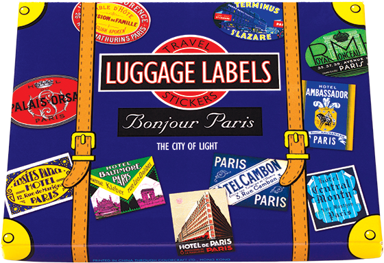 Bonjour Paris  Travel Labels This box of 20 individual peel and stick luggage labels are suitable for scrapbooking, decoupage, gift wrapping and, of course the adornment of old trunks and luggage. Paris is, for many travelers, the ultimate destination. The lovely city by the Seine symbolizes romance, adventure, antiquity, beauty, sensuality, sophistication, history and tradition more fully than any other. Its hotels are many and fabulous, as befits such a mythic locale. Our selection includes Parisian hotels existing and defunct, including The Astor, The Trianon, The Robler, The Scribe and more.