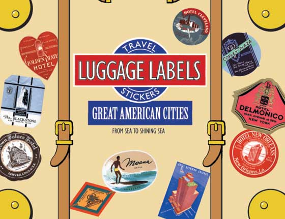 Great American  Travel Labels | Travel Stickers This box of 20 individual peel and stick luggage labels are suitable for scrapbooking, decoupage, gift wrapping and, of course the adornment of old trunks and luggage. Great American Cities is entirely devoted to U.S. cities - New York, San Francisco, Denver, Honolulu, Chicago, New Orleans, Boston, Cleveland, Seattle, Detroit, Los Angeles, Philadelphia, and so on. These are the cities to which one ventures to escape ordinariness and become somebody.