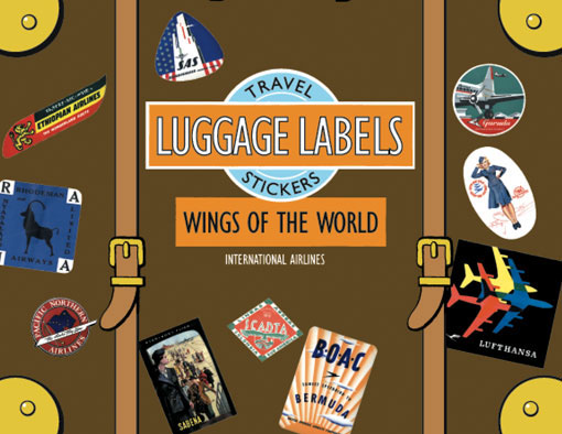 Wings of the World Travel Labels | Travel Stickers This box of 20 individual peel and stick luggage labels are suitable for scrapbooking, decoupage, gift wrapping and, of course the adornment of old trunks and luggage. Despite their relatively brief history, airlines have produced some of the most pleasing of all luggage labels. Their designs are bold, with a modern sensibility. We have selected for beauty, rarity, and variety, and include labels from the airlines Garuda, Scadta, Ethiopian, Jersey, Lot Roumanian and Cubana, as well as labels from larger and more familiar carriers such as B.O.A.C. and Lufthansa.