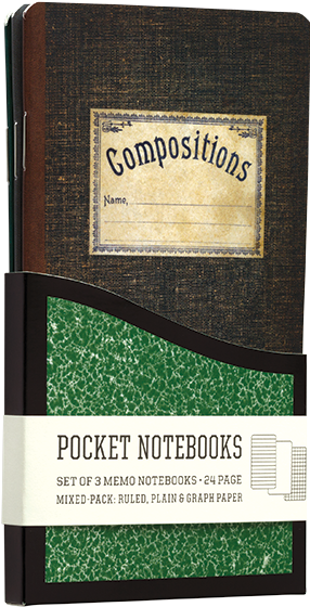 Vintage Composition | Pocket Notebooks A Pack of 3 Memo Notebooks with Vintage Composition Book Designs.