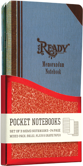 Memorandum Pocket Notebooks | Pocket Notebooks A Pack of 3 Memo Notebooks with Vintage Memorandum Journal Designs.