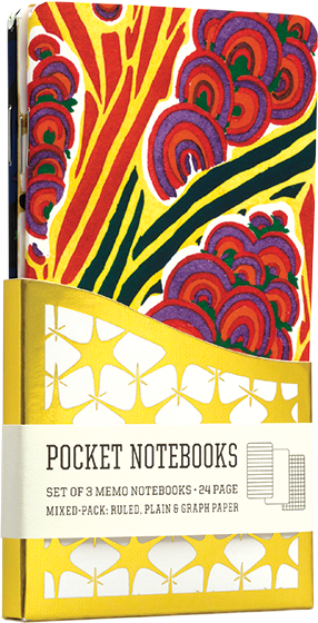 Floreal A Pack of 3 Memo Notebooks with Vintage Composition Book Designs.  A number of the great French designers of the Art Nouveau and Art Deco period were apparently commissioned by the Parisian publisher A.Calavas to create designs for the use of wall paper, fabric and other manufacturers. These designs were printed by pochoir, a multi-stencil process using a huge range of brilliant and intense colors, in large portfolios. The designs on our Floreal set of small notebooks are taken from the set of that name, designed by Seguy.  3 pack of 24 -page memo books, in three styles, Graph, Ruled, and Plain, sleeved in Wallet Case.