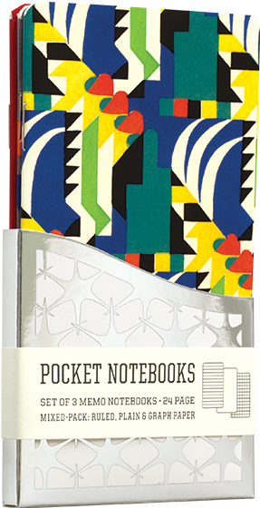 Kaleidoscope A Pack of 3 Memo Notebooks with Geometric Art Deco Designs.  Some of the French Art Nouveau and Art Deco designers who were hired by A.Calavas to produce designs for decorators' use were masters of abstract as well as the nature-inspired design. The brilliant pochoir prints that we feature on this set of small notebooks are by Verneuil and Benedictus.  3 pack of 24 -page memo books, in three styles, Graph, Ruled, and Plain, sleeved in Wallet Case.