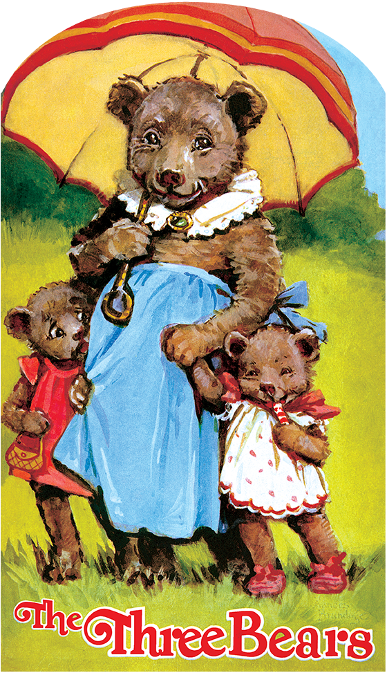 The Three Bears {The Three Bears,} originally published in 1928 and illustrated by Frances Brundage is a grand choice for reproduction.  It is a classic story, undertaken by many illustrators drawn to its suspenseful elements and narrative thrust.  Brundage is, like most American illustrators of her era, rather unappreciated, but her work in {The Three Bears} is lovely and gentle.  The bears are essentially sweet, rather than menacing, while Goldilocks is more a charming imp than destructive.  The bears' home is appropriately lovely, as is its unwelcome human visitor.  Despite the havoc Goldilocks wreaks, one does not sense that any serious damage has been done.  Our version is another in our popular series of children's shaped books.