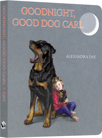 Goodnight, Good Dog Carl Everyone's favorite babysitting dog is back, and this time he's putting the everybody to bed! In Goodnight, Good Dog Carl, Carl tucks everyone in, makes sure all is well in the house, as a Good Dog should, and then settles down to sleep himself. A suggested lullaby is included at the end. This new board book is the latest title from Alexandra Day, author and illustrator of the best selling Good Dog Carl series of children's picture books. With over four-million 'Carl' books in prints, Goodnight, Good Dog Carl is sure to become a bedtime classic for a whole new generation of children.