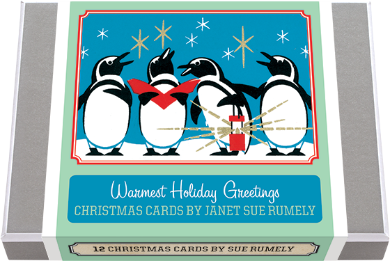 Warmest Holiday Greetings - Christmas Cards by Janet Sue Rumely Janet Sue Rumely Holiday Greeting Cards. 2 each of 6 designs, with 12 envelopes, boxed. Sue Rumely's mid-century cards feature lovely winter and holiday images of snow, animals and stars. They evoke a sense of peace, companionship and joy particularly appropriate to the season. Made in America with high quality paper, envelopes and packaged in a deluxe, keepsake box.