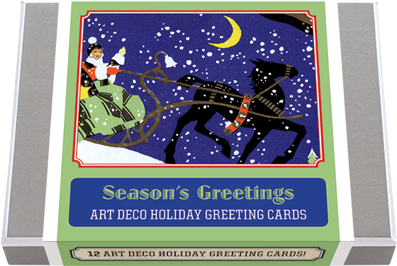 Season's Greetings - Art Deco Christmas Greeting Cards 12 classic Season's Greeting and Christmas Cards drawn from the stylish wintery wonderland of the Art Deco era, 2 each of 6 designs with 12 envelopes. These greeting cards, depict sleighs being pulled, visits of Christmas cheer, holly and wreaths, all in Art Deco style and color. These cards will make a perfect compliment to a stylish Christmas correspondence. Made in America with high quality paper, envelopes and packaged in a deluxe, keepsake box. All cards are blank inside.