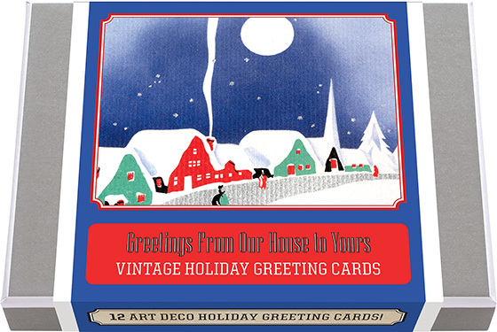 Greetings From Our House to Yours - Vintage Holiday Greeting Cards | Packaged and Boxed Christmas Greeting Cards 12 classic Holiday Greeting Cards drawn from the 1940's featuring highly stylized holiday figures and scenes , 2 each of 6 designs with 12 envelopes. These greeting cards illustrate secular, holiday themes of snow, candles, warm homes and bells, rendered in pleasing colors and smooth lines will make any Holiday cards received from this collection instant mantel piece standouts. Made in America with high quality paper, envelopes and packaged in a deluxe, keepsake box. All cards are blank inside.