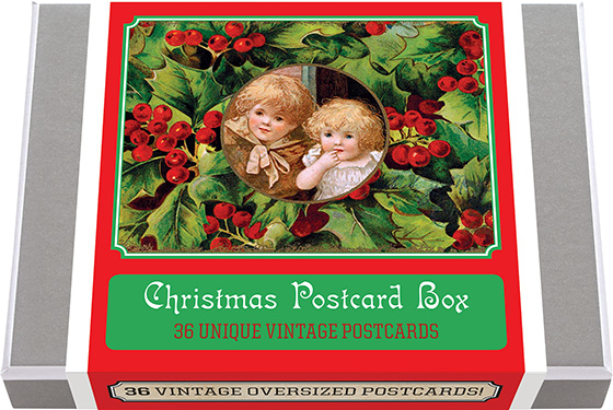 Christmas Postcard Box - 36 Unique Vintage Postcards | Postcards 36 of our finest vintage Christmas images from the picture postcard's golden era. During the great era of postcard publishing (which dated from the 1890's until World War I) a great many different designs for postcards were produced. Holidays were a favorite time to send postcards, and as Christmas has always been the number one card sending occasion, Christmas themed cards abounded. The imagery of these cards is varied, appealing, and dramatic. Our selections use the familiar imagery of Christmas - Santa, Reindeer, Christmas Trees, and more. What better way to send a short Marry Christmas note than with a postcard! We have selected for this collection 36 unique images and added a vintage postcard back with dividing line and stamp box. Made in America with high quality paper and packaged in a deluxe, keepsake box.