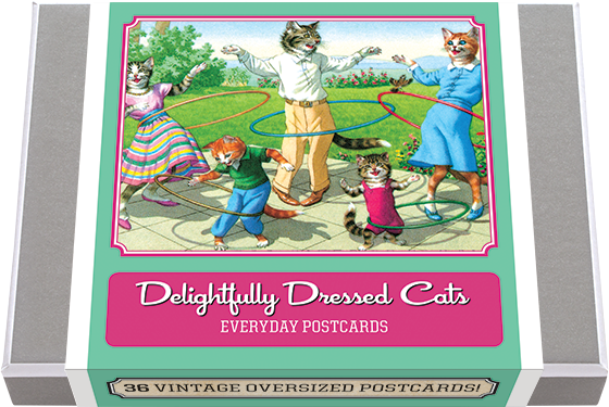 Delightfully Dressed Cats Postcard Box - 36 Unique Vintage Postcards 36 vintage images of dressed cats. Beginning in the 1940s, illustrations of naturalistically painted cats were published as postcards, all by Swiss artist Eugen Hartung (1897-1973). He created more than two hundred designs. These cats mirror our human activities, and are both satirical and endearing. We have selected for this collection 36 unique images and added a vintage postcard back with dividing line and stamp box. Made in America with high quality paper and packaged in a deluxe, keepsake box.