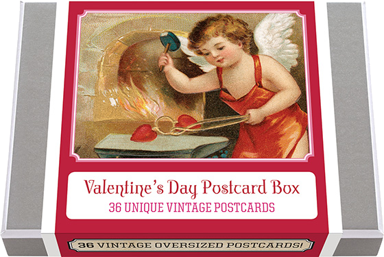 Valentine's Day Postcard Box - 36 Unique Vintage Postcards 36 vintage Valentine's Day Postcards. Postcards are a wonderful way for us to share our treasure trove of images. Our postcard books on Easter, Halloween and Christmas have proven to be very popular, and so we turn to one of our favorite holidays--Valentine's Day. The valentine, as a graphic token to be exchanged by lovers on February 14, became very popular in the middle of the 19th century, and continued to increase in popularity and variety as the century advanced. In the first years of the 20th century there was an explosion in popularity of the picture postcard, and it was natural that postcards would be created to send on every holiday. Tens of thousands of valentine designs were printed as Valentines. We have selected for this collection 36 unique images and added a vintage postcard back with dividing line and stamp box. Made in America with high quality paper and packaged in a deluxe, keepsake box.