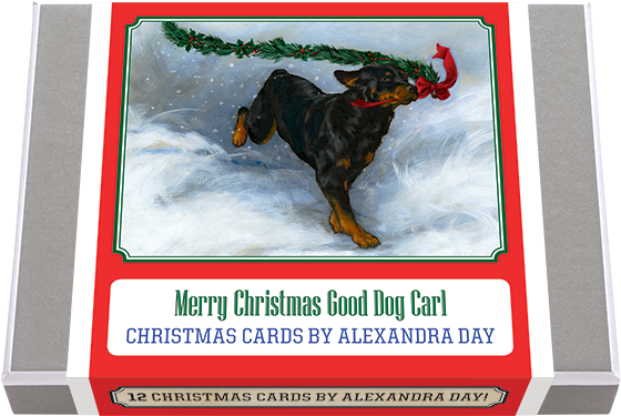 Merry Christmas Good Dog Carl - Christmas Cards by Alexandra Day 12 Good Dog Carl Greeting Cards, all Christmas themed. 2 each of 6 designs with 12 envelopes. Most of these images appeared in the beloved classic, Carl's Christmas: Carl with a Christmas basket, Carl decorating with his little mistress, helping Santa and talking to his reindeer. Plus two of just winter fun. Made in America with high quality paper, envelopes and packaged in a deluxe, keepsake box. All cards are blank inside.