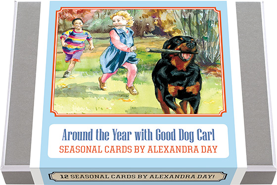 Around the Year with Good Dog Carl Seasonal Cards by Alexandra Day. 12 Good Dog Carl Greeting Cards, themed for all the seasons of the year. 2 each of 6 designs with 12 envelopes. Carl with his child friends in the spring, summer, fall and winter. All to send to dog-loving friends any time of year. Made in America with high quality paper, envelopes and packaged in a deluxe, keepsake box. All cards are blank inside.