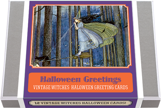 Halloween Greetings Vintage Witches Halloween Greeting Cards. Six appealing witches, from youthful to elegant, drawn by a variety of artists, make up our box of twelve cards: two each of the six designs, accompanied by envelopes. Made in America with high quality paper and packaged in a deluxe, keepsake box.