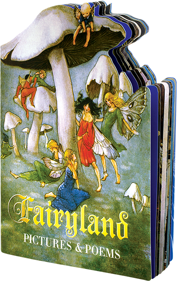 Fairyland Fairies are endlessly fascinating to us humans. They are magical, elusive, sometimes helpful, sometimes mischievous, always mysterious and usually attractive to look at. This shaped book offers splendid representations of them painted by a number of artists, together with poems about them which will appeal to both children and adults.