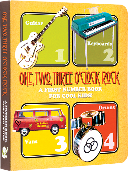 One, Two, Three O'Clock, Rock: A First Number Book for Cool Kids  A rockin' first word and picture book of essential preschool number skills. The numbers from 1 to 10, 20, 50 and 100 are illustrated with references to classic rock and roll instruments and memorabilia.  Along with every number, 1 through 10, a numbered rock song is featured.  The illustrations are all in the bright and nostalgic vintage style of the classic rock era. The wide variety of bright and bold illustrations and the fun approach are sure to delight parent and child alike. One, Two, Three O'Clock, Rock!  is a well made board book that will survive the repeated readings every toddler will demand.