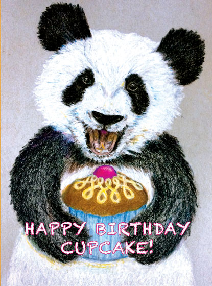 Cupcake Panda  OUTSIDE GREETING: Happy Birthday Cupcake  BLANK INSIDE  Our notecards are custom printed at our location in Seattle, WA. They come bagged with an envelope.