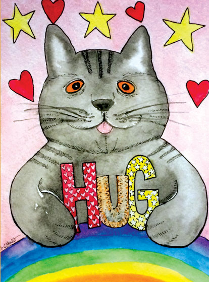 Rainbow Hug Cat  OUTSIDE GREETING:Hug  BLANK INSIDE  Our notecards are custom printed at our location in Seattle, WA. They come bagged with an envelope.
