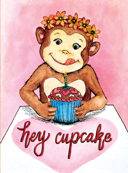 Cupcake Monkey  OUTSIDE GREETING:Hey Cupcake   INSIDE GREETING: Happy Birthday  Our notecards are custom printed at our location in Seattle, WA. They come bagged with an envelope.