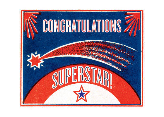 Shooting Star  OUTSIDE GREETING: Congratulations SuperStar!  BLANK INSIDE  Our notecards are custom printed at our location in Seattle, WA. They come bagged with an envelope. We love illustration art from old children's books and early, printed ephemera. These cards reflect this interest in bringing delightful art back to life.