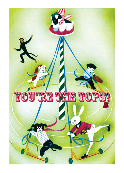 Circus Dog on a Pole  OUTSIDE GREETING: You're the Tops!  INSIDE GREETING: Congratulations!  Our notecards are custom printed at our location in Seattle, WA. They come bagged with an envelope. We love illustration art from old children's books and early, printed ephemera. These cards reflect this interest in bringing delightful art back to life.