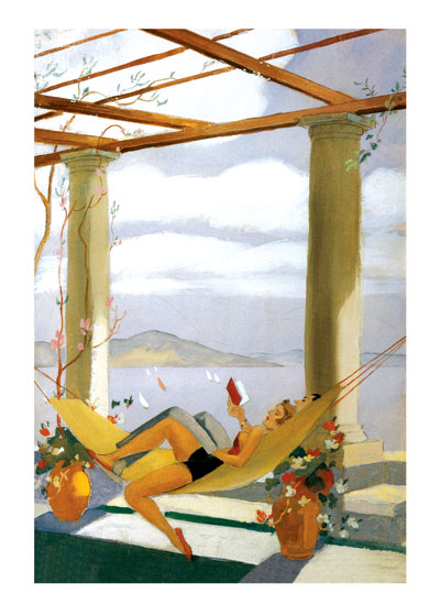Couple in a Hammock  BLANK INSIDE  Our notecards are custom printed at our location in Seattle, WA. They come bagged with an envelope. We love illustration art from old children's books and early, printed ephemera. These cards reflect this interest in bringing delightful art back to life.