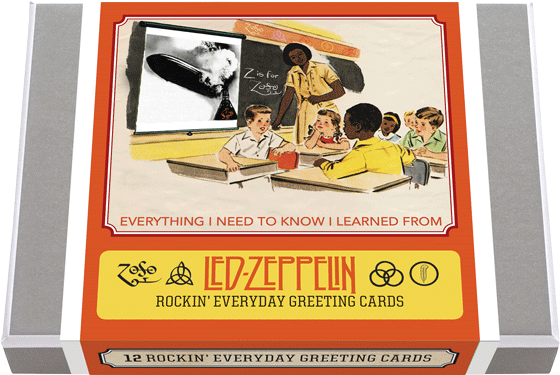 Everything I Need to Know I Learned from Led Zeppelin - Boxed Cards 12 greeting cards drawn from the best seller, Everything I Need to Know I Learned from Led Zeppelin, 2 each of 6 designs with 12 envelopes. These greeting cards reproduce scenes from the book of happy children interacting with Led Zeppelin words and images. These cards will make a perfect compliment to the book. Made in America with high quality paper, envelopes and packaged in a deluxe, keepsake box. All cards are blank inside.
