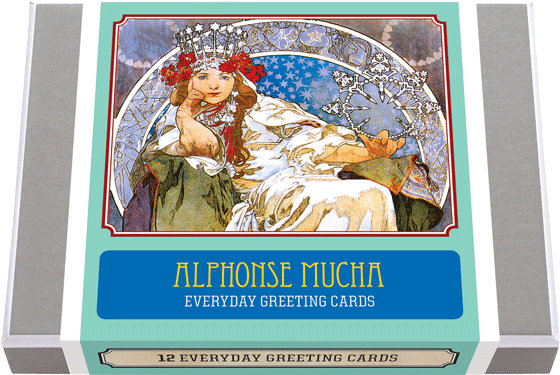 Alphonse Mucha Everyday Greeting Cards 12 Alphonse Mucha Carl Greeting Cards, featuring some of his most iconic imagery. 2 each of 6 designs with 12 envelopes. Czech artist Alphonse Mucha's Art Nouveau style makes for perfectly lovely blank cards . Made in America with high quality paper, envelopes and packaged in a deluxe, keepsake box. All cards are blank inside.