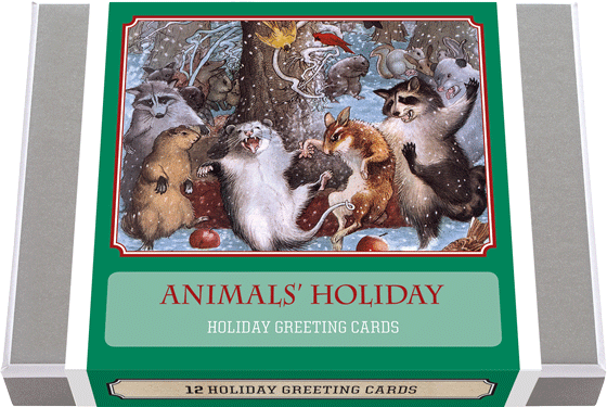 Animals' Holiday - Vintage Holiday Greeting Cards 12 classic Holiday Greeting Cards featuring animals at Christmas time, 2 each of 6 designs with 12 envelopes. These greeting cards illustrate various animals frolicking in the holidays. Made in America with high quality paper, envelopes and packaged in a deluxe, keepsake box. All cards are blank inside.