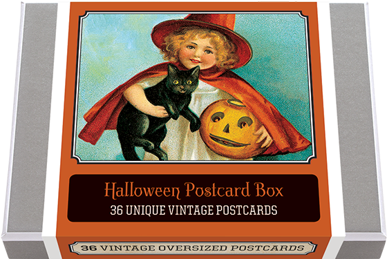 Halloween Postcard Box - 36 Unique Vintage Postcards 36 of our finest vintage Halloween images from the picture postcard's golden era. During the great era of postcard publishing (which dated from the 1890's until World War I) a great many different designs for postcards were produced. Holidays were a favorite time to send postcards, and Halloween themed cards abounded. We have selected for this collection 36 unique images and added a vintage postcard back with dividing line and stamp box. Made in America with high quality paper and packaged in a deluxe, keepsake box.