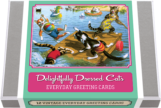 Delightfully Dressed Cats Greeting Card Set Beginning in the 1940s, Swiss artist Eugen Hartung (1897-1930), made illustrations of naturalistically painted cats that were published as postcards. He created more than two hundred designs. These cats mirror our human activities, and are both satirical and endearing. His ingenuity in thinking up situations in which he can turn humans into cats is remarkable and results in dozens of entertaining scenes. We have selected from this collection 6 unique images and offer two each of these amusing images on greeting cards. Made in America with high quality paper, envelopes and packaged in a deluxe, keepsake box. All cards are blank inside.