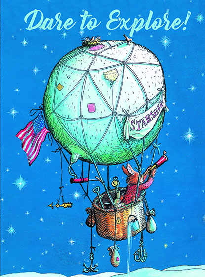 """Bunny on a Balloon This illustration by Garth Williams comes from a Little Golden Book entitled, """"The Friendly Book"""", 1954.  OUTSIDE GREETING:Dare to Explore!  INSIDE GREETING:You'll find magic when you look for it!   We have long admired the Little Golden Books, and we feel that their tender, lighthearted images and sweet sentiments pair perfectly together as greeting cards.  In partnership with Random House Children's Books, publisher of Little Golden Books and Diane Muldrow's {Everything I Need to Know I Learned from a Little Golden Book}, we've designed this line of greeting cards to convey our heartfelt good wishes to our loved ones, be they children or young-at-heart adults, on the occasion of a birthday or anniversary, or simply to write, """"I'm thinking of you.""""  Our cards honor the Little Golden Books tradition by reproducing their iconic gold band on the back of each card, and we include a gold envelope to further """"golden"""" the message you send.  All of our cards are made in Seattle, Washington, USA."""