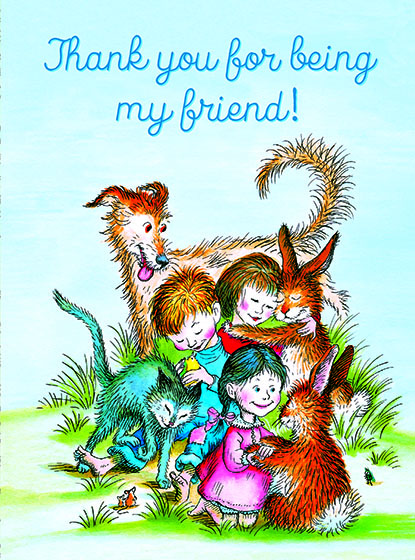 """Children & Animals Hugging This illustration by Garth Williams comes from a Little Golden Book entitled, """"The Friendly Book"""", 1954.  OUTSIDE GREETING:Thank you for being my friend!   BLANK INSIDE  We have long admired the Little Golden Books, and we feel that their tender, lighthearted images and sweet sentiments pair perfectly together as greeting cards.  In partnership with Random House Children's Books, publisher of Little Golden Books and Diane Muldrow's {Everything I Need to Know I Learned from a Little Golden Book}, we've designed this line of greeting cards to convey our heartfelt good wishes to our loved ones, be they children or young-at-heart adults, on the occasion of a birthday or anniversary, or simply to write, """"I'm thinking of you.""""  Our cards honor the Little Golden Books tradition by reproducing their iconic gold band on the back of each card, and we include a gold envelope to further """"golden"""" the message you send.  All of our cards are made in Seattle, Washington, USA."""